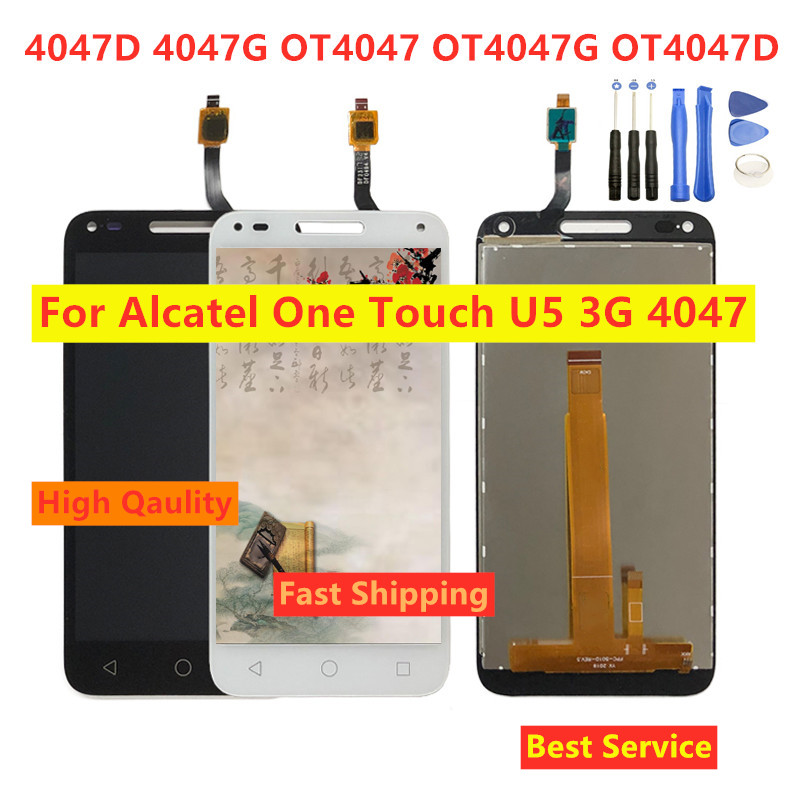 High Qaulity For <font><b>Alcatel</b></font> One Touch U5 3G 4047 <font><b>4047D</b></font> 4047G OT4047 OT4047G OT4047D <font><b>LCD</b></font> Display Touch Screen Digitizer Assembly image