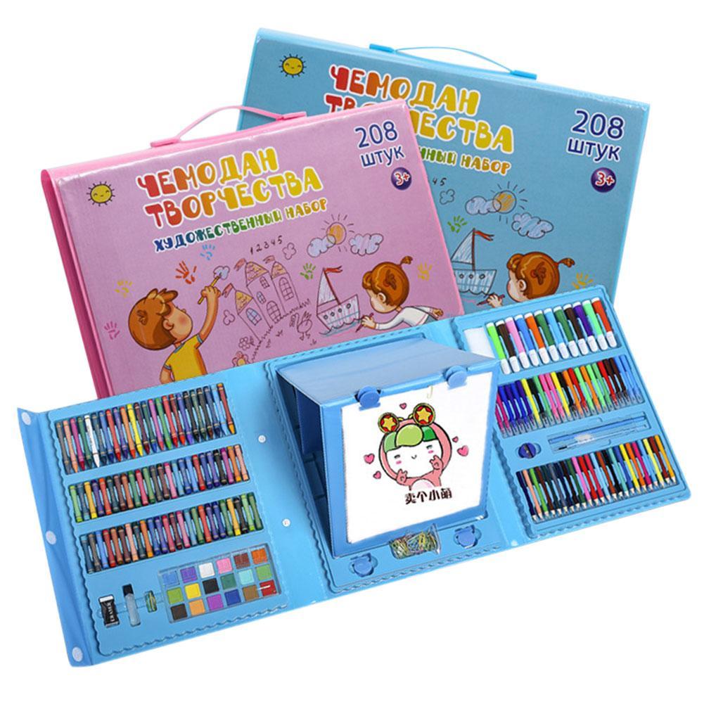 Conjunto para Artista de dibujo y pintura de colores, Kit de lápices de cera para pintar, rotuladores, herramientas de dibujo, guardería, 208 Uds.