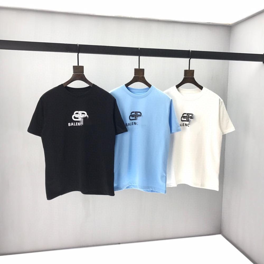 2020 Spring Summer Women's Paris  Letter Embroidery Cotton Black Short Sleeve Men T-shirt B3