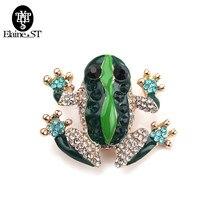 Moda ventilador strass verde sapo broche para cachecóis feminino ouro pino de segurança broches hijab acessórios presente