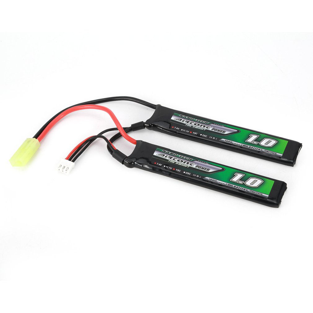 Airtonk Power 7.4V <font><b>1000mAh</b></font> 15C <font><b>2S</b></font> <font><b>Lipo</b></font> Battery Mini Tamiya Plug Rechargeable Double Cell for RC Drone Quadcopter Car Boat image