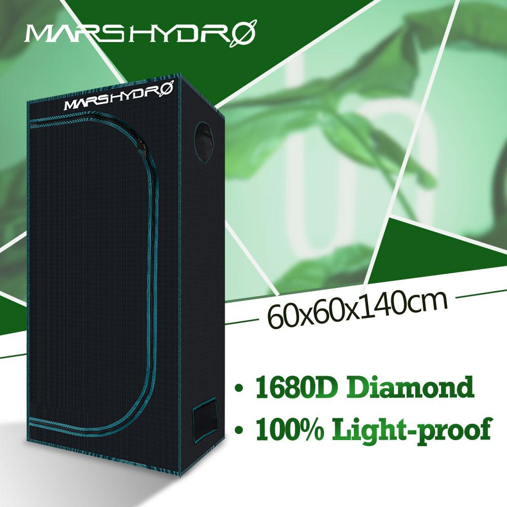 Caja LED para tienda de campaña 1680D Mars Hydro 60x60x140cm para jardín hidropónico de interior, cabaña a prueba de agua, Diamante reflectante, sala de cultivo Mylar
