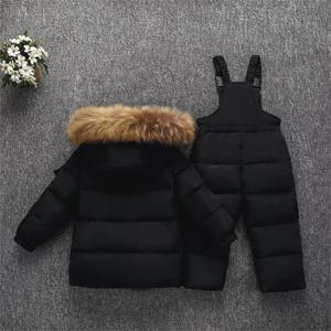 Image 2 - Olekid 30度ロシア冬子供服セットダウンジャケットコート + オーバーオールのための1 5年女の子防寒着
