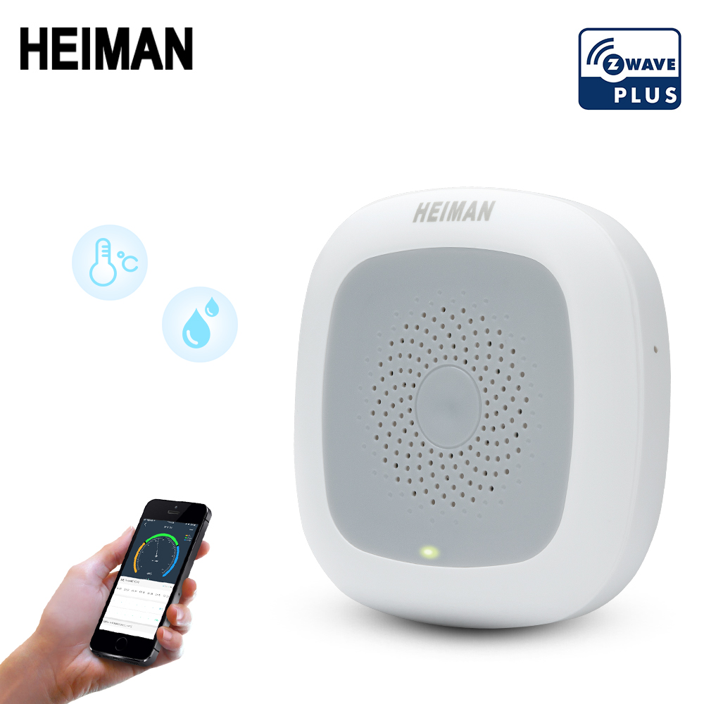 HEIMAN Smart Zwave Temperature Humidity Z-wave Detector Z Wave Heat Sensor Home Thermometer EU 868MHz Fire Alarm