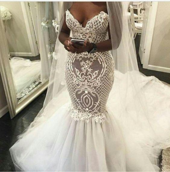 Eslieb ลูกไม้ Mermaid Wedding Dress 2020 ชุดเดรสเมอร์เมด