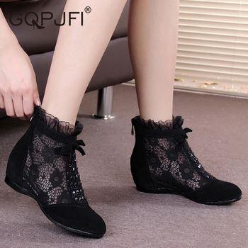 цена Fashion Short Boots Women's Air Net Boots Increased Naked Boots Summer New Single Boots Hollow Women's Boots zapatos de mujer онлайн в 2017 году