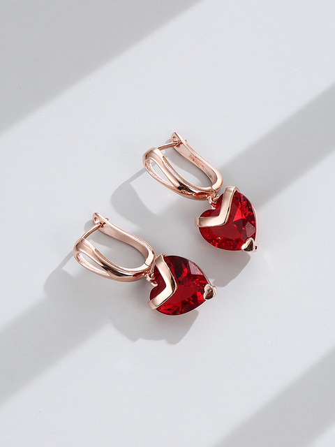 INALIS Heart Shape Fashion Earrings For Women 2021 Statement Transparent Red Zircon Rose Gold Korea Drop Earring Jewelry Hot 3