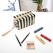 New Phnom Penh Stripe Cosmetic Bag PU Leather Laser Anise Storage Bag Lady Clutch Bag Portable Toiletry Bag