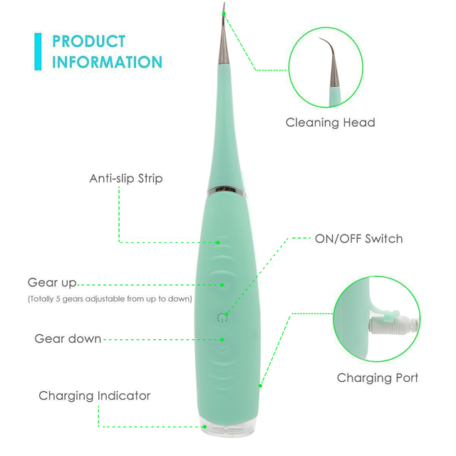 Portable Electric Sonic Dental Scaler Tooth Calculus Remover Tooth Stains Tartar Tool Dentist Whiten Teeth Health Hygiene