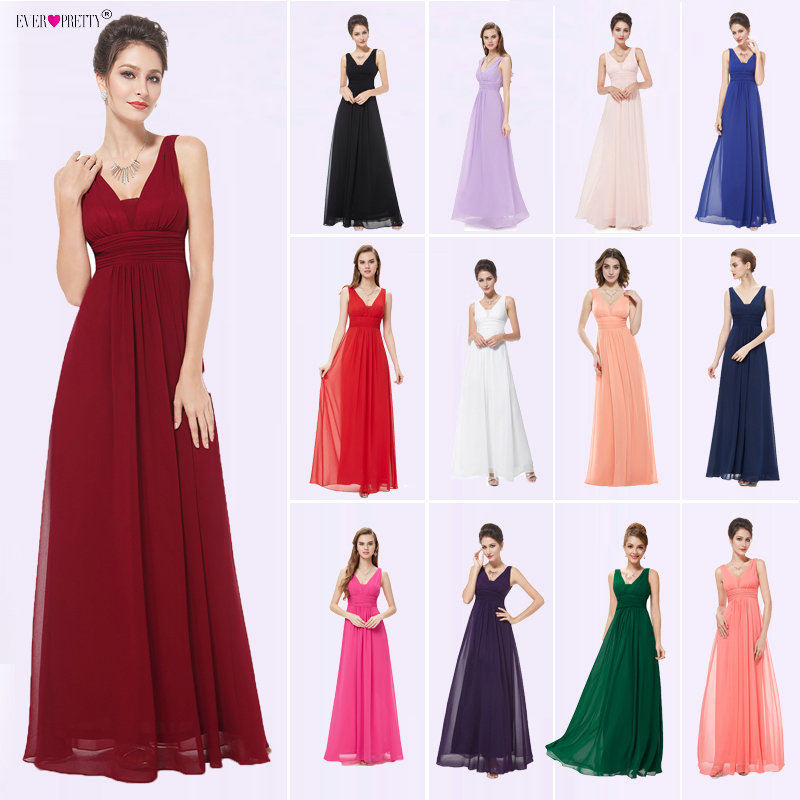 Elegant Purple Bridesmaid Dress Ever Pretty EP08110 A Line Long Deep V-neck Women Sleeveless Chiffon Wedding Party Dresses 2020