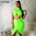 Neon Grün Gelb Sexy Zwei Stück Set Frauen Rollkragen Kurzarm Crop Top + Plissee Bodycon Kleid Trainingsanzug 2 Stück club Outfit