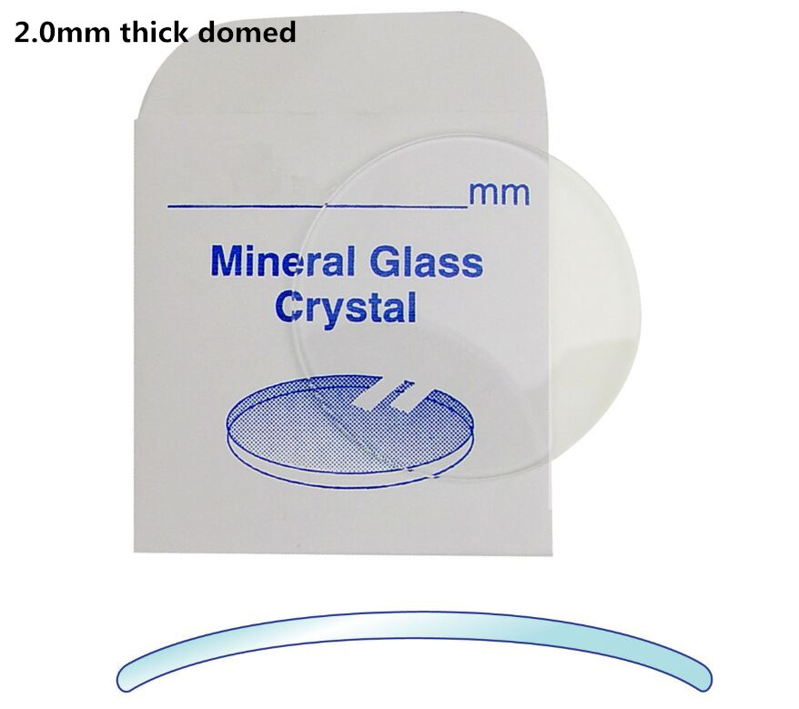 High Quality!2.0mm Thick Double Dome Concave Mineral Round Glass Select Size From 30mm To 38.5mm