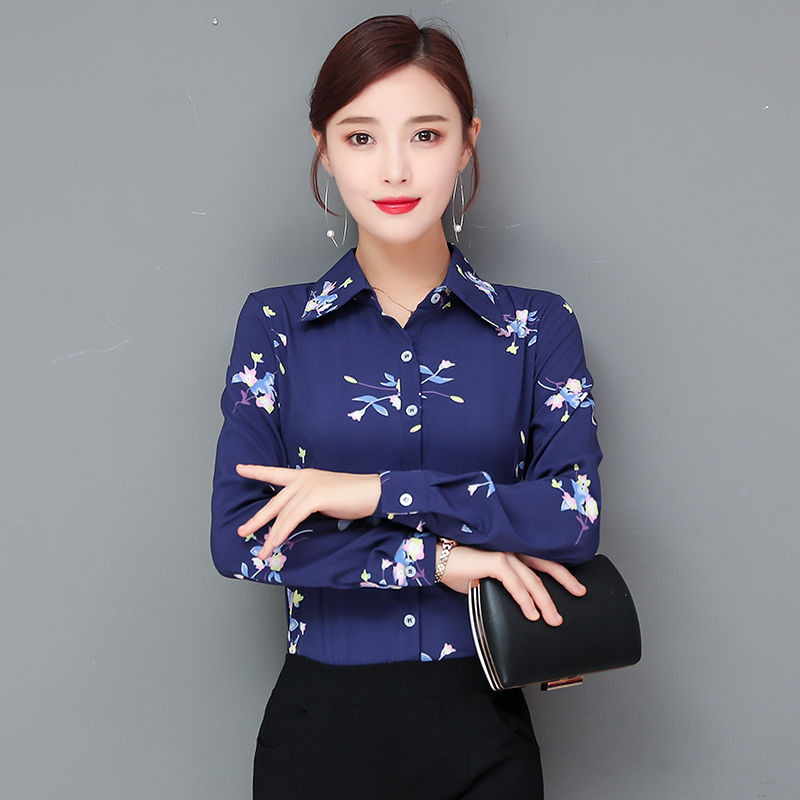 2020 New Summer Turm-down Collar Blouse Formal Wear Long-sleeved Print Shirt Workwear Women's Korean White Collar Work Clothes
