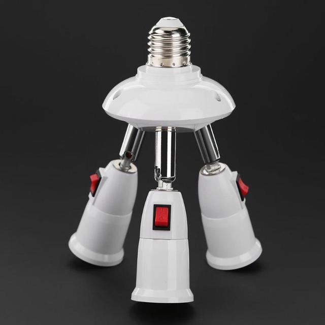 E27 ספליטר 3/4 ראשי מנורת בסיס מתכוונן LED אור הנורה מחזיק מתאם ממיר שקע אור הנורה