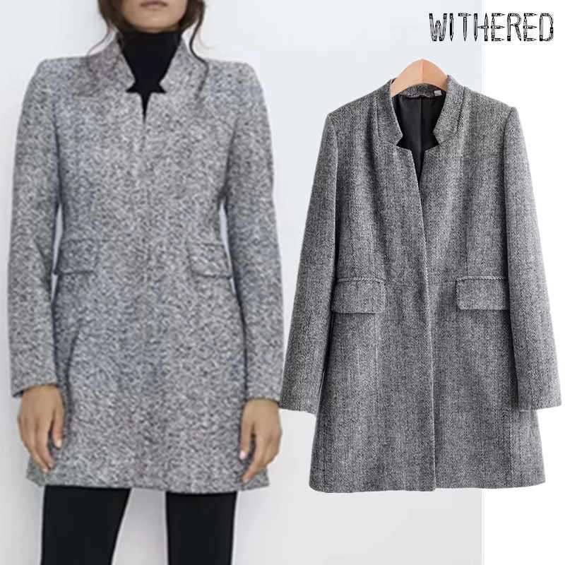 Withered 2019 winter trench coat england style simple office lady elegant texture straight long coat woolen overcoat women tops