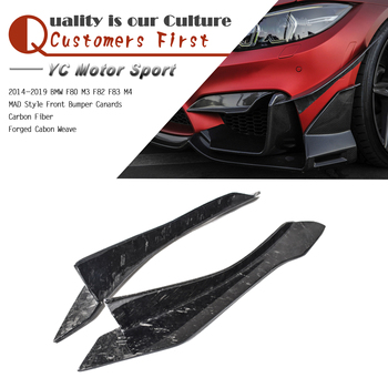 Car Accessories Forged Cabon Weave Carbon Fiber Front Bumper Canards MAD Style Fit For 2014-2019 F80 M3 F82 F83 M4 Canards