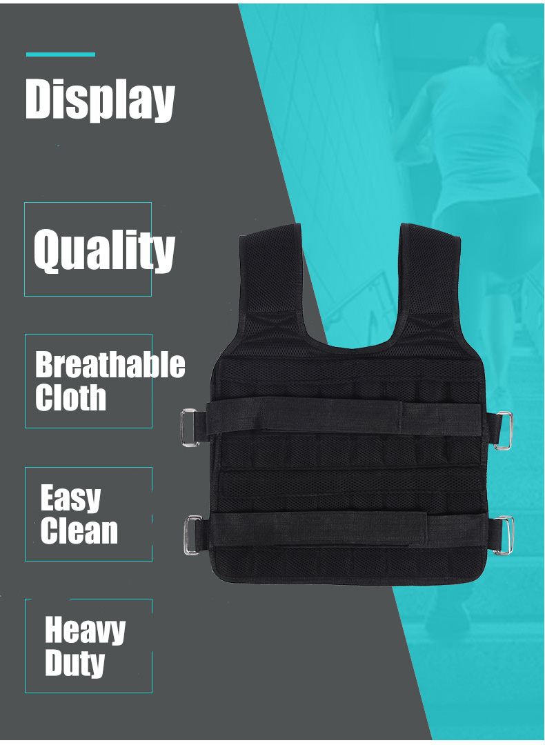 30KG Loading Weight Vest For Boxing Weight Training Workout Fitness Gym Equipment Adjustable Waistcoat Jacket Sand Clothing 4
