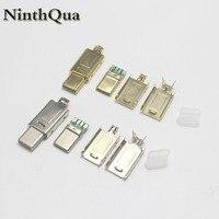 1/2/5 conjuntos de níquel/ouro banhado otg usb 3.1 4 p tomada macho tipo c soldagem usb 4 em 1 reparação cabo conector do carregador para o telefone diy