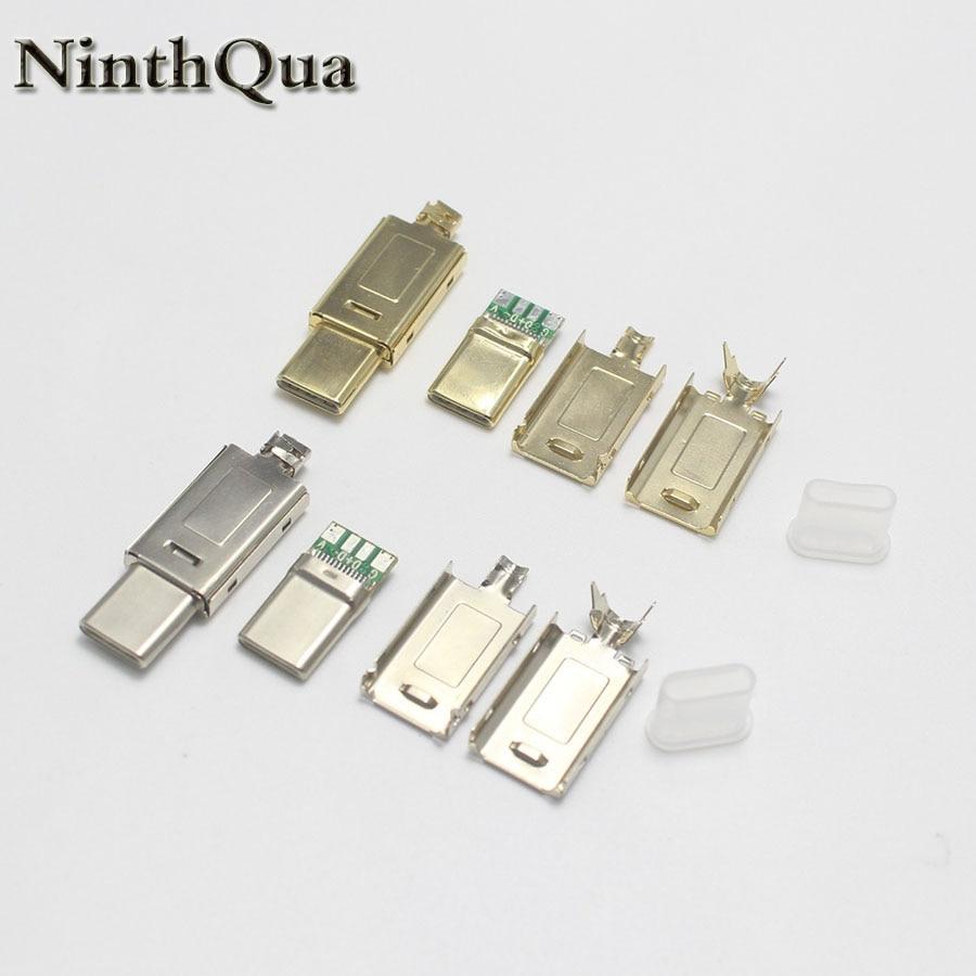 Никелированный/позолоченный USB 3. 0 4P Type C штекер, сварочный USB 4 в 1, кабель для ремонта «сделай сам», соединитель зарядного устройства для теле...