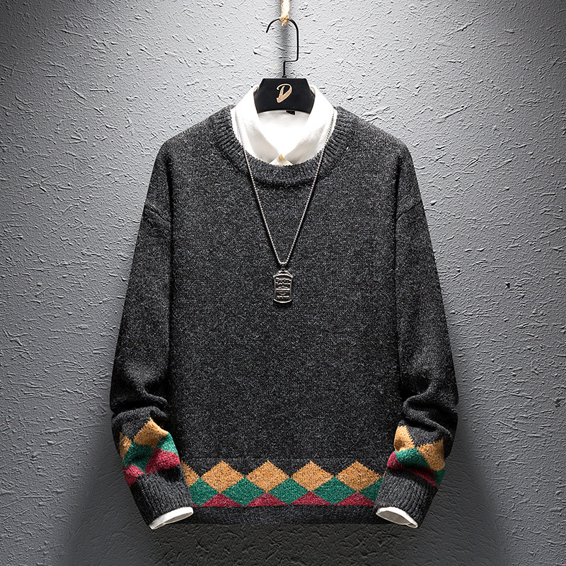 2019 Autumn And Winter Men's Clothing New Japanese Simple Round Neck Suit Sweater Tide Men's Wild Warm Sweater Thickened