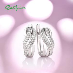 Image 4 - SANTUZZA כסף עגילים לנשים טהור 925 כסף סטרלינג עגילי כסף לבן CZ brincos תכשיטים