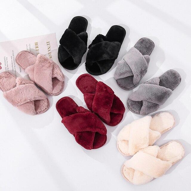 Inverno feminino casa chinelos de pele do falso moda quente sapatos mulher deslizamento em apartamentos feminino slides preto rosa aconchegante casa peludo chinelos 1