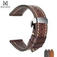 Top Qualität Leder Armband Schwarz Braun Echt Italian Kalbsleder Uhr Band Straps 18-26mm mit Solide Automatische Schmetterling schnalle