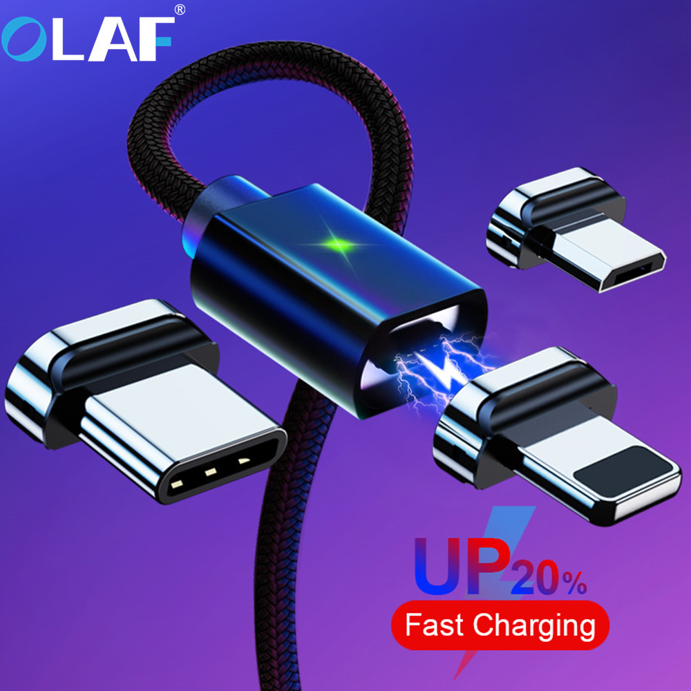 Câble magnétique de micro USB de type C, marque OLAF pour iPhone, Android et Xiaomi