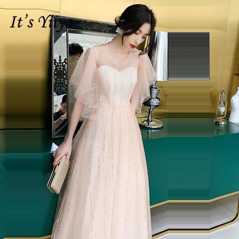 It's Yiiya Eveing Dresses V-neck Short Sleeve Evening Dress Plus Size Elegant Formal Gowns 2020 Zipper Robe De Soiree LF212