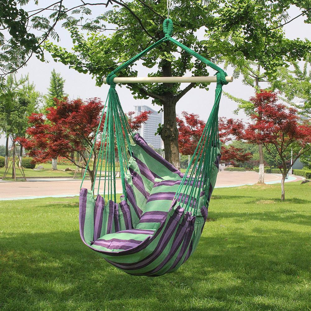 Hammock Chair Hanging Chair Swing With 2 Pillows For Outdoor Garden Adults Kids Hammock Chair Hanging Chair Dropshipping