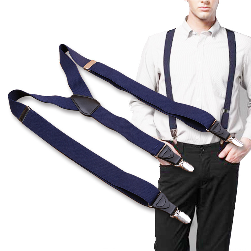 Fashion Suspenders Black leather 3 Clips Braces Vintage Casual Trousers Strap Father/Husband's Gift Men's Elastic strap clip