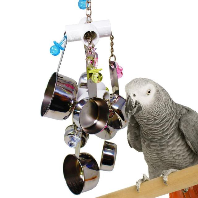 1pc Parrot Bird Stainless Steel Pot Chew Bite Toys Cage Pendant Decor Pet Supplies