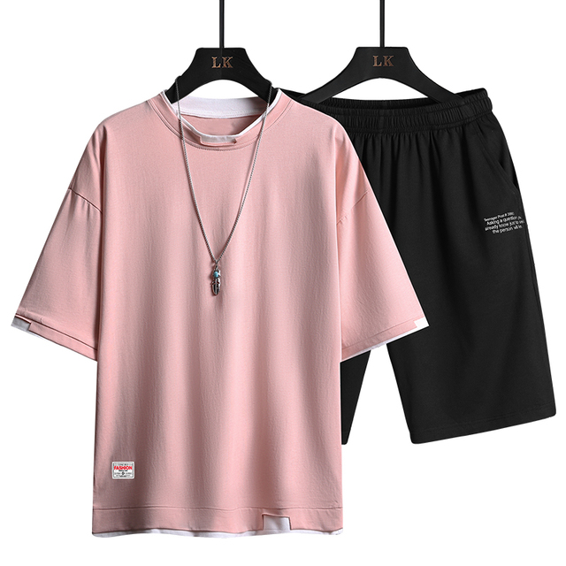 2021 Summer Men Casual Sports Sets Round Neck T-shirt Shorts Solid Color 2 Piece Suit Fashion Sports Breathable Mens Clothes 5