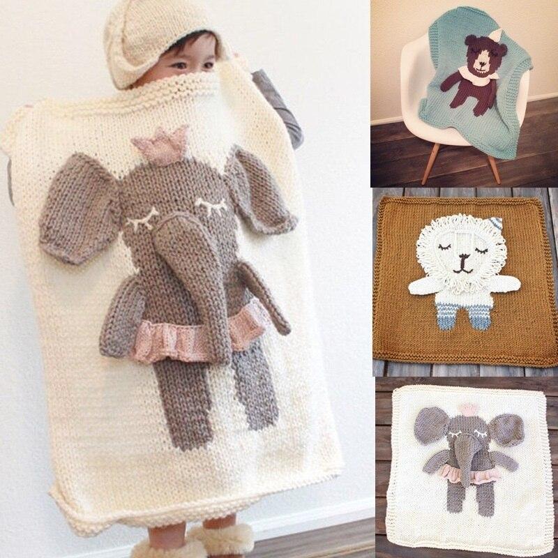 Bande dessinée éléphant Lion ours licorne tricoté couverture bébé jouer tapis enfants tapis tapis enfants lit chambre décor nordique Photo accessoires