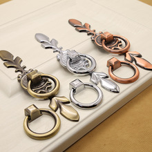 цена на 4 Pcs/Lot Antique Copper Handle Ring, Single Hole, Round, Green, Antique, Bright Chrome, European Simple Wardrobe Door