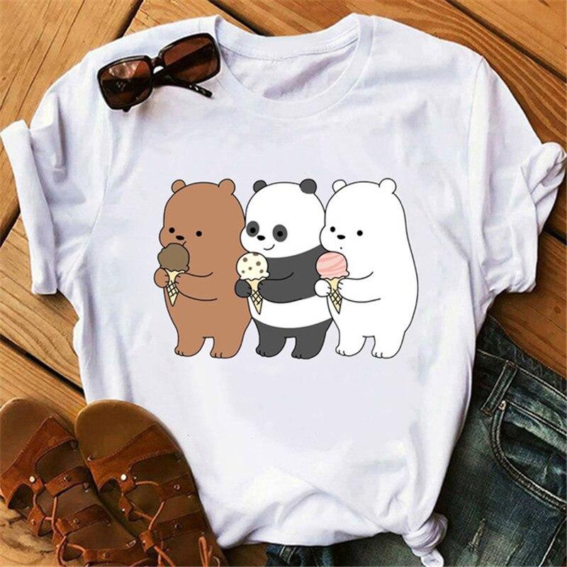 Maycaur New Kawaii Bears Women T Shirt Cartoon Graphic Printed Tees Cute White T-shirt Short Sleeve Tops Casual Vogue T Shirts