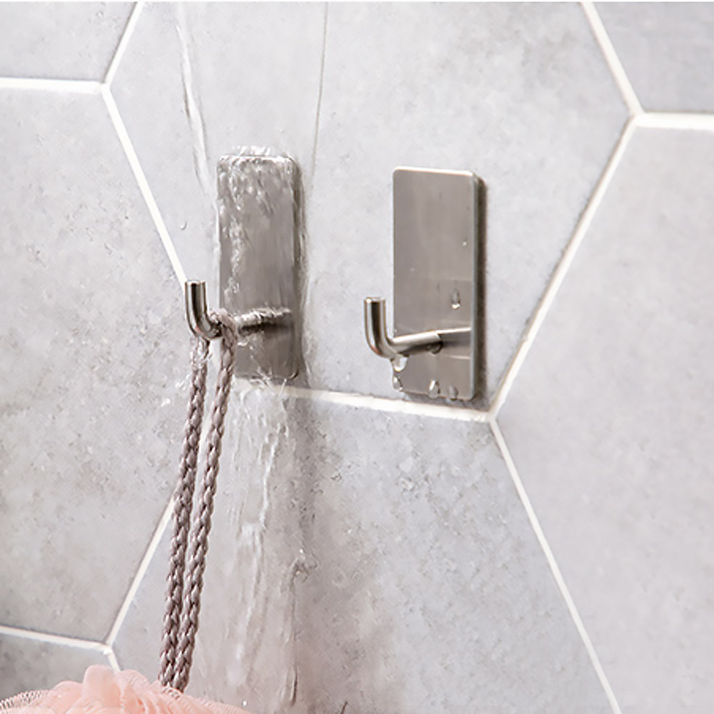 Stainless Steel Wall Hook Self Adhesive Sticky Kitchen Home Bathroom Bath Ball Key Bag Coat Hanger Storage Hanging Holder Rack 2