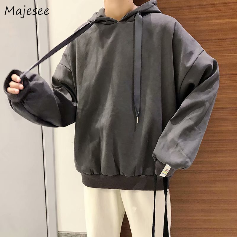 Hoodie Men Clothes 2019 Solid Thick Plus Size Mens Hoodies Korean Style Loose All Match Casual Males Hot Sale Oversize Pullover