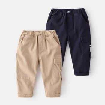 Spodnie dziecięce Khaki wiosna nowe spodnie sportowe dla dzieci spodnie dziecięce Street Cotton Cargo spodnie na co dzień tanie i dobre opinie Ywstt Chłopcy POLIESTER 4-6y 12 + y 7-12y CN (pochodzenie) Wiosna i jesień LOOSE haft Z KIESZENIAMI Pełna długość