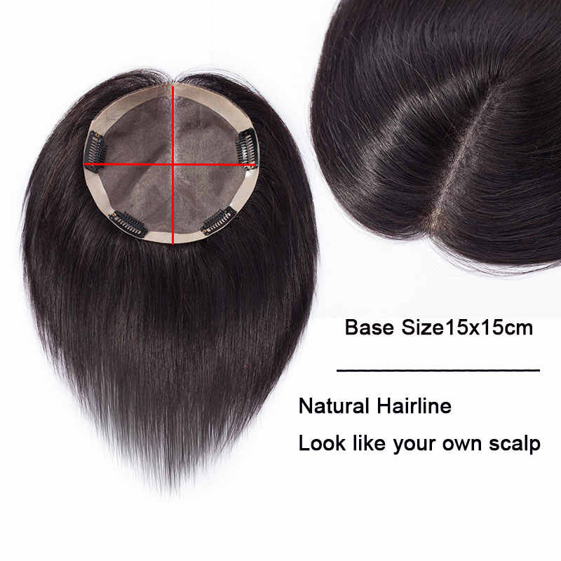 SEGO 6 Inch 15x15cm Straight Fine Mono Hair Topper Toupee For Women Natural Human Hairpiece Clip in Non-Remy Toupee 150% Density