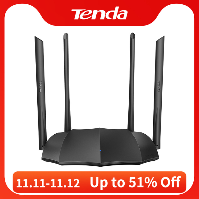 Tenda Router AC8 Gigabit Version 2.4GHz 5GHz WiFi 1167Mbps WiFi Repeater 128MB DDR3 High Gain 4 Antennas Network Extender
