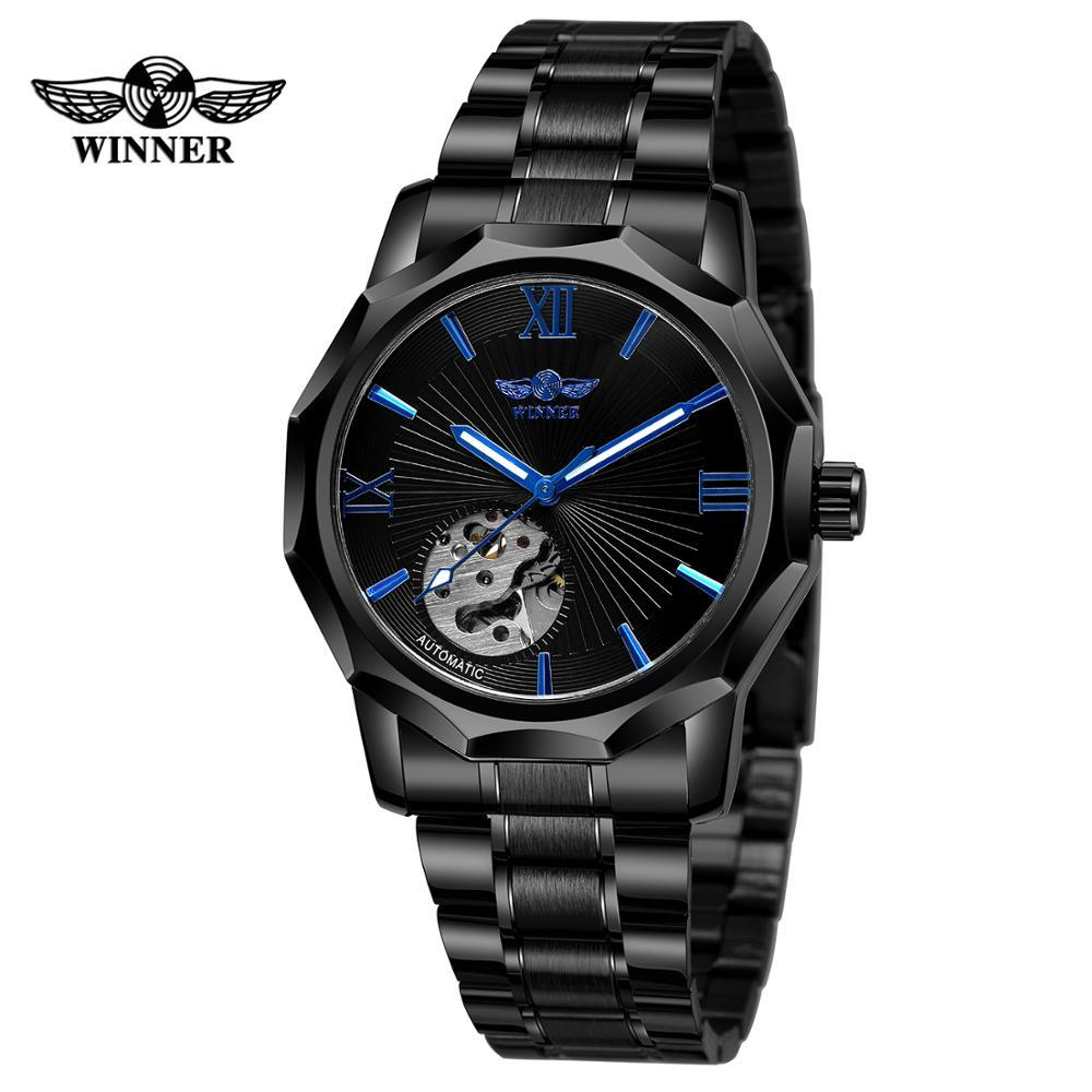 Montres noires pour hommes et femmes daffaires WINNER montres à bracelet à boucle pliante montres-bracelets mécaniques automatiques