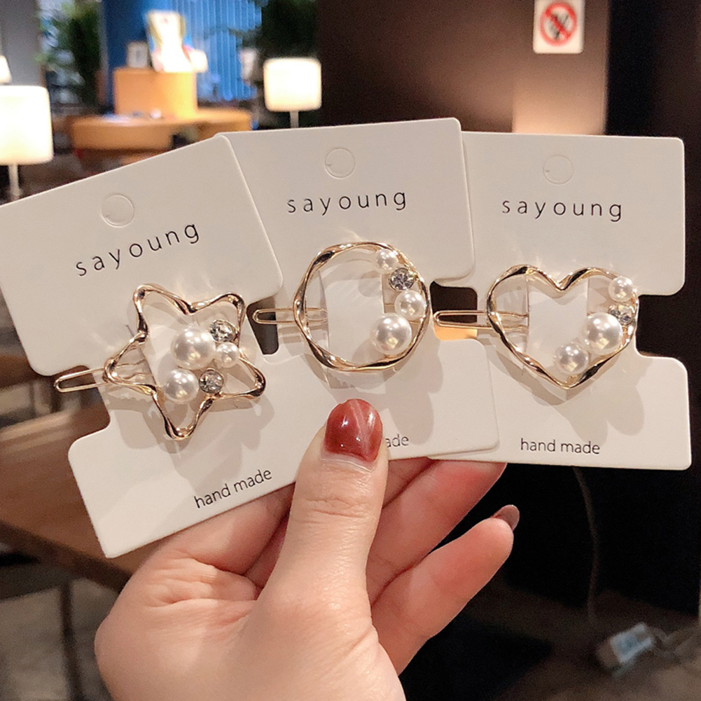 New Design Women Girls Elegant Pearl Crystal Heart Star Geometric Hair Clip Headwear Hairpin Barrettes Headband Hair Accessories
