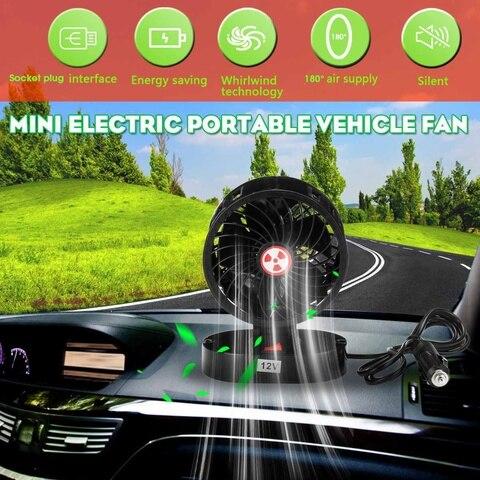 Black 12V 360 Degree All-Round Adjustable Car Auto Air Cooling Dual Head Fan Low Noise Auto Cooler Air Fan Car Fan Accessories Pakistan