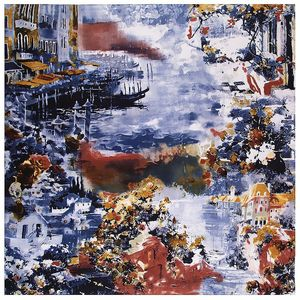 Image 1 - 2020 New Winter Scarf Van Goghs Oil Painting Luxury Brand Twill Silk Wholesale Square Scarf Kerchief Shawl Scarves For women