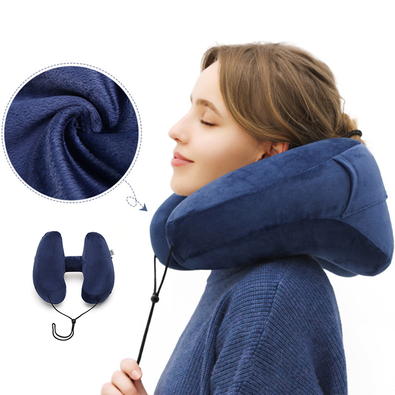 6 Color H Shape Inflatable Travel Pillow Folding Lightweight nap Neck Pillow Car Seat office Airplane sleeping Cushion Pillow image