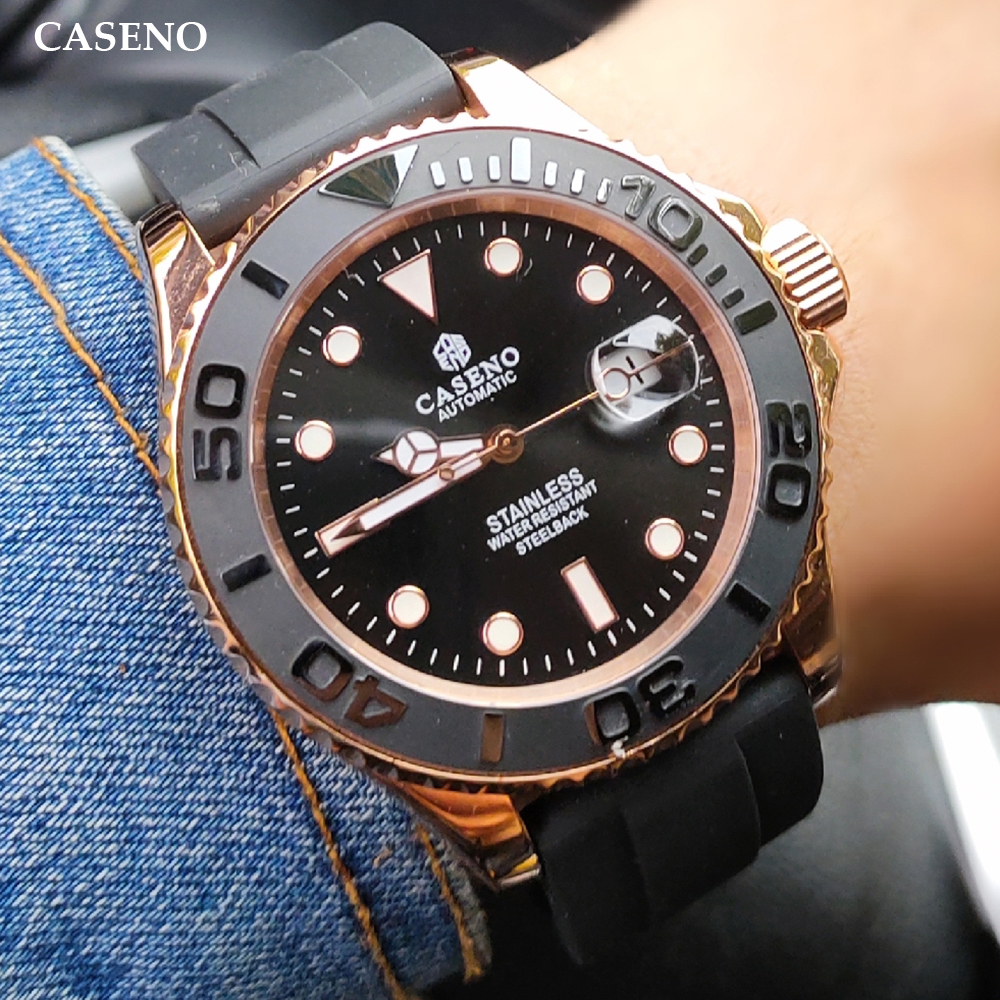 Montre mécanique automatique hommes haut de gamme marque hommes montres en céramique noire bague extérieure or acier inoxydable Silicone montre CASENO