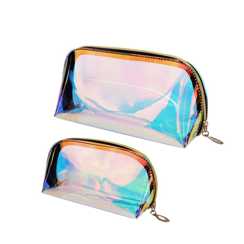 AUAU-2Pcs Multifunctional Makeup Bag Iridescent Holographic Clear Cosmetic Bag Large Travel Storage