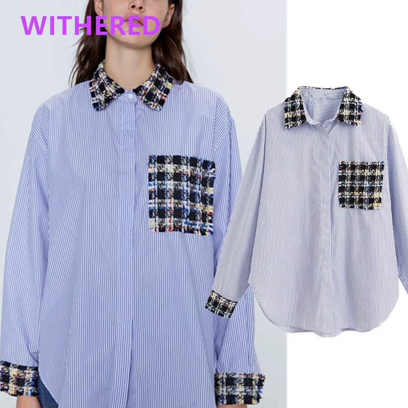 Withered England High Street Blue Striped Tweed Pockets Patchwork Loose Blouse Women Blusas Mujer De Moda 2020 Shirt Womens Tops