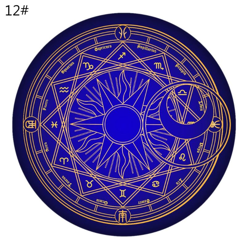 60cm Round Cartoon Rug Tarot Tablecloth Pentagram Sun Moon Divination Party Board Game Table Pad
